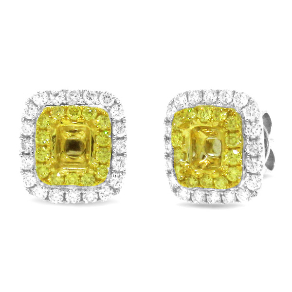 0.95ct 18k Two-tone Gold Natural Yellow Diamond Semi-mount Earrring