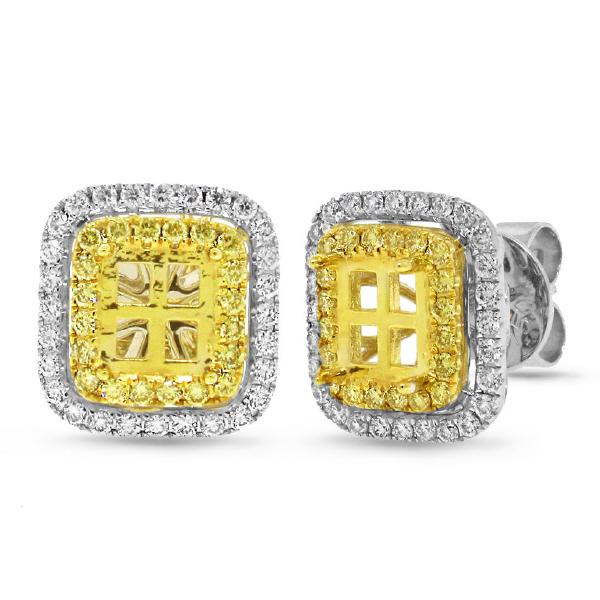 0.89ct 18k Two-tone Gold Natural Yellow Diamond Semi-mount Earrings