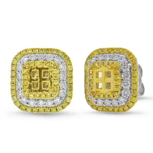 1.97ct 18k Two-tone Gold Natural Yellow Diamond Semi-mount Earrings