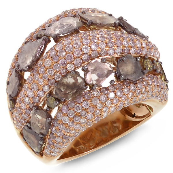 4.41ct 18k Rose Gold White & Fancy Color Diamond Ring