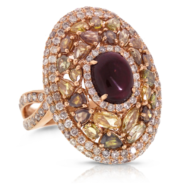 3.87ct White & Fancy Color Diamond & 2.31ct Tourmaline 18k Rose Gold Ring