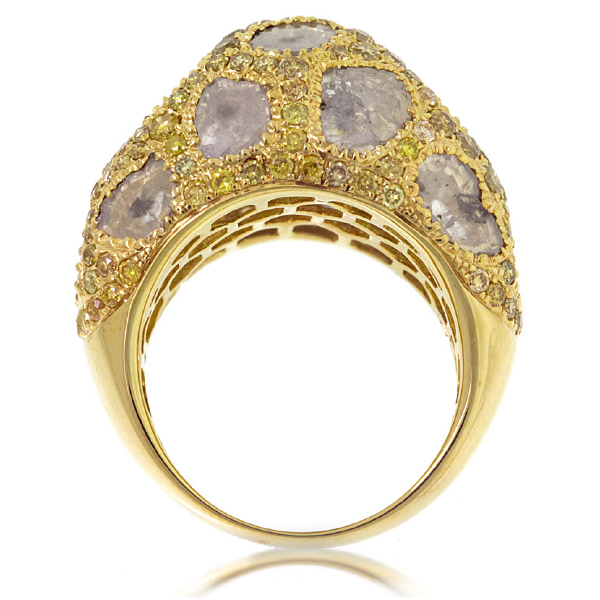 3.83ct 18k Yellow Gold Fancy Color Diamond Ring