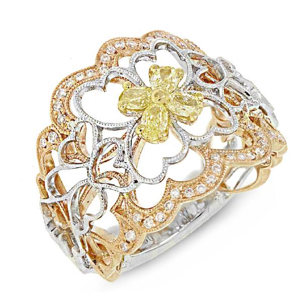 0.58ct 18k Three-tone Gold White & Fancy Color Diamond Ring