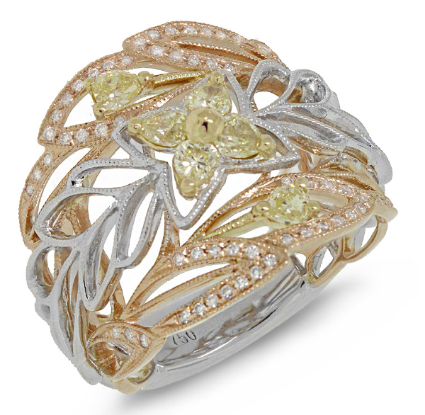 0.74ct 18k Three-tone Gold White & Fancy Color Diamond Ring