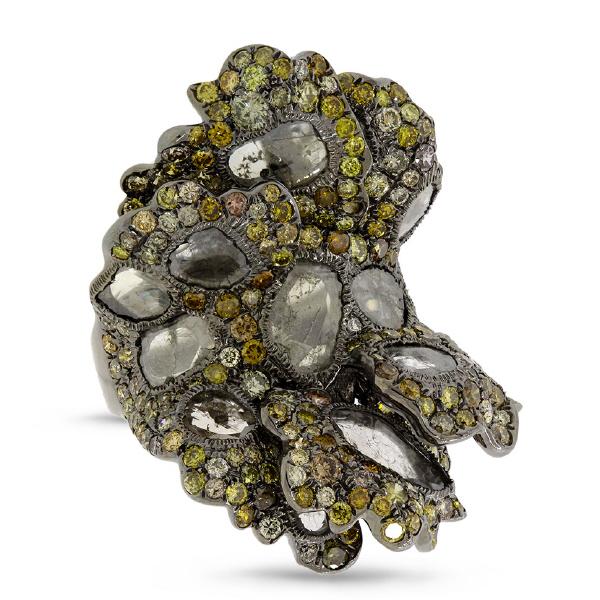 6.86ct 18k Black Rhodium Gold Fancy Color Diamond Ring
