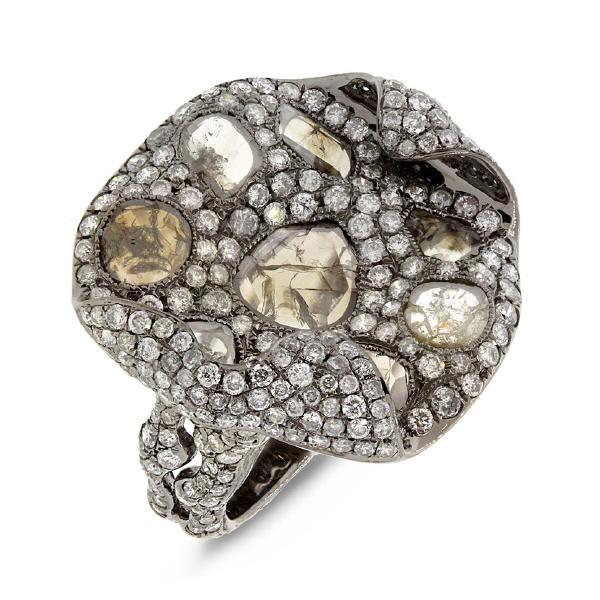 4.37ct 18k Black Rhodium Gold Fancy Diamond Ring