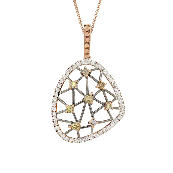 0.70ct 14k Rose Gold Fancy Color Diamond Pendant Necklace