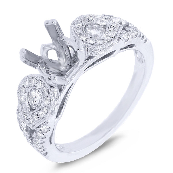 0.67ct 14k White Gold Diamond Semi-mount Ring