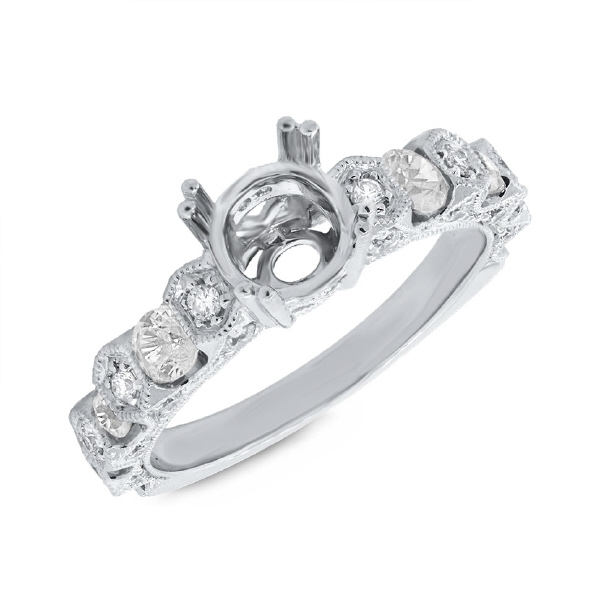 0.83ct 14k White Gold Diamond Semi-mount Ring