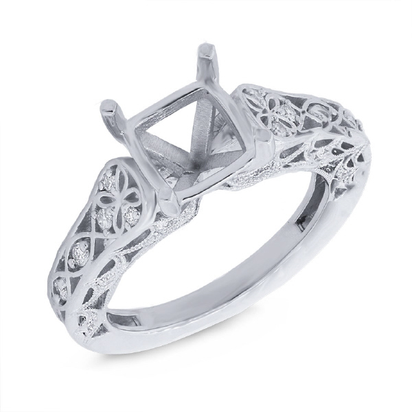 0.24ct 14k White Gold Diamond Semi-mount Ring