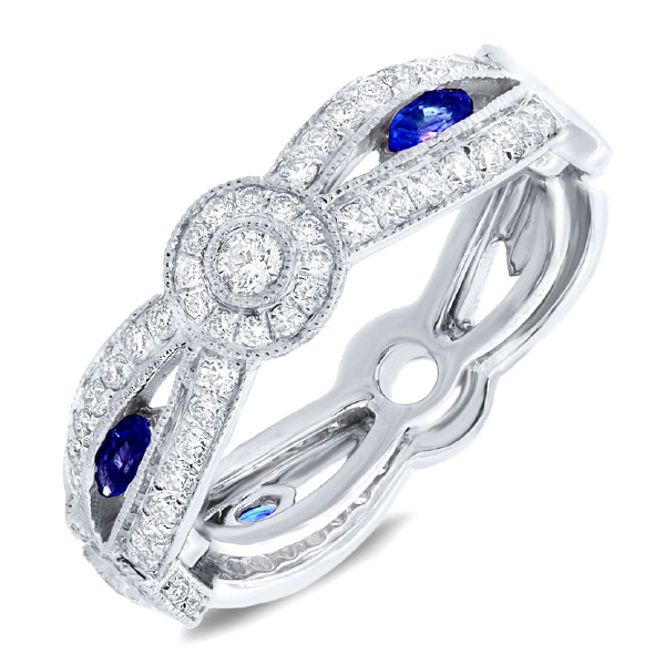 0.82ct Diamond & 0.35ct Blue Sapphire 14k White Gold Lady's Ring