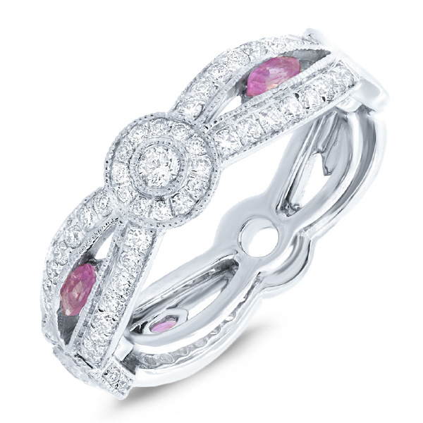 0.82ct Diamond & 0.32ct Pink Sapphire 14k White Gold Lady's Ring