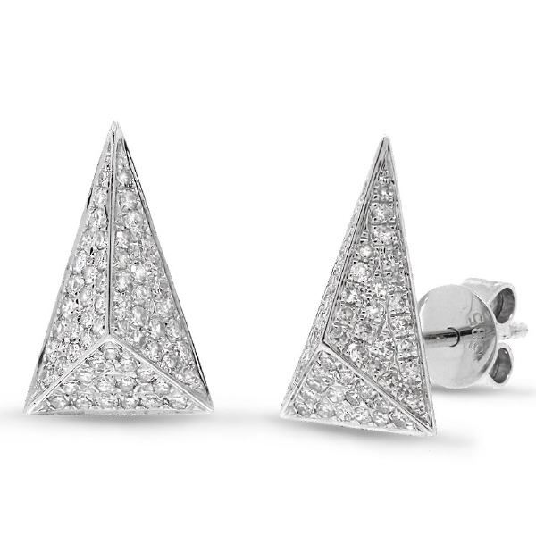 0.34ct 14k White Gold Diamond Pave Pyramid Earrings