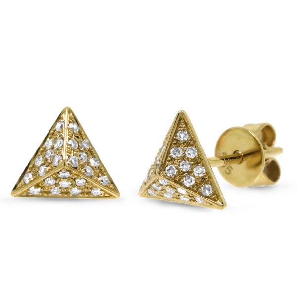 0.16ct 14k Yellow Gold Diamond Pave Pyramid Earrings