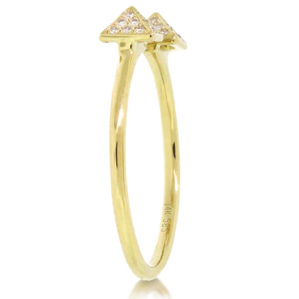 0.10ct 14k Yellow Gold Diamond Pave Pyramid Ring