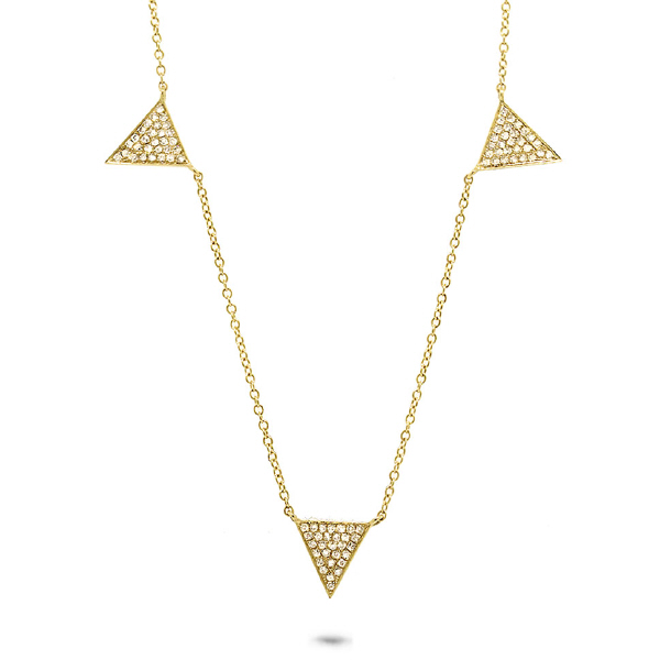 0.23ct 14k Yellow Gold Diamond Pave Triangle Necklace