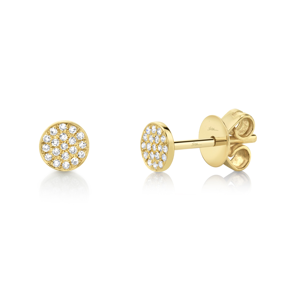 0.07ct 14k Yellow Gold Diamond Pave Stud Earrings