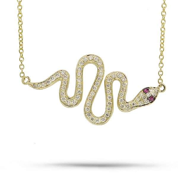 0.31ct Diamond & 0.02ct Ruby 14k Yellow Gold Snake Necklace