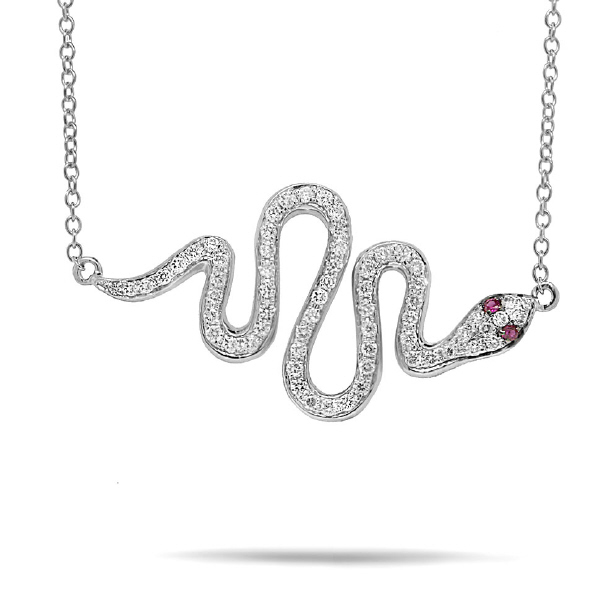 0.31ct Diamond & 0.02ct Ruby 14k White Gold Snake Necklace