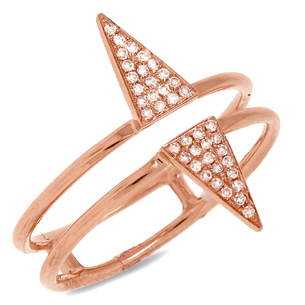 0.11ct 14k Rose Gold Diamond Pave Triangle Ring