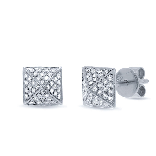 0.18ct 14k White Gold Diamond Pave Pyramid Earrings