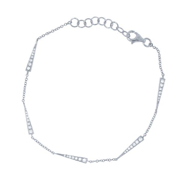 0.23ct 14k White Gold Diamond Triangle Bracelet