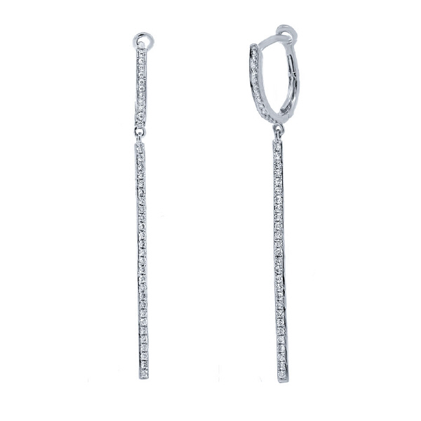 0.48ct 14k White Gold Diamond Bar Earrings