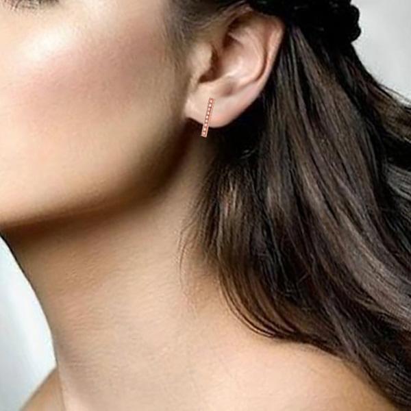 0.14ct 14k Rose Gold Diamond Bar Earrings