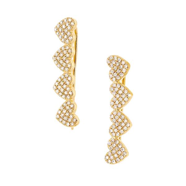 0.34ct 14k Yellow Gold Diamond Pave Hearts Ear Crawler Earrings