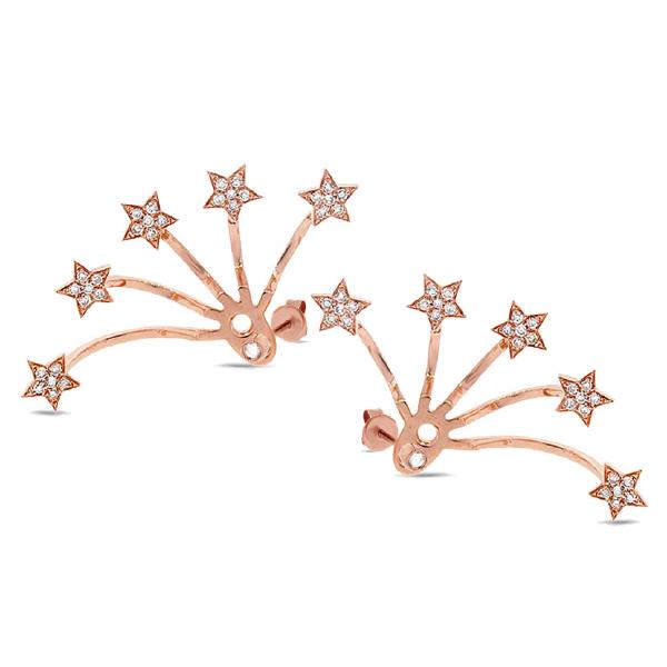 0.27ct 14k Rose Gold Diamond Star Ear Jacket Earrings With Studs
