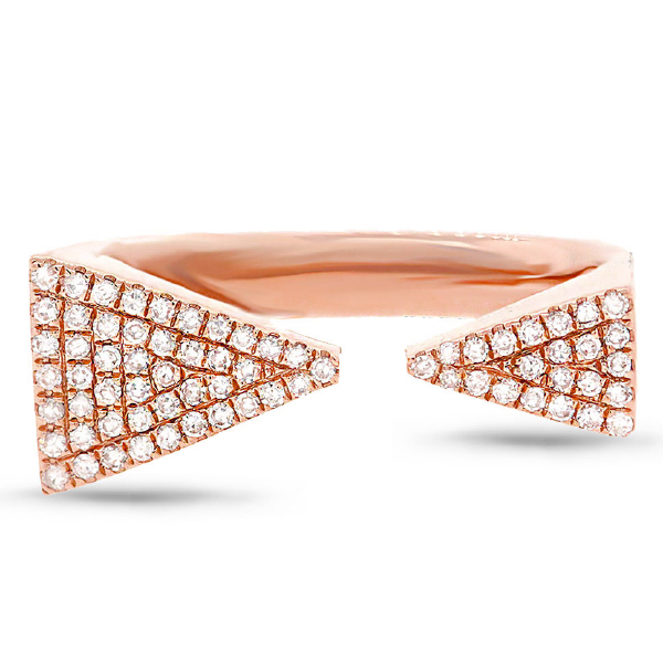 0.22ct 14k Rose Gold Diamond Pave Triangle Ring