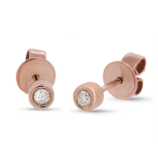 0.07ct 14k Rose Gold Diamond Stud Earrings