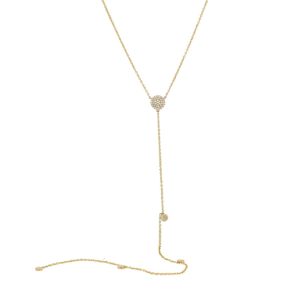 0.12ct 14k Yellow Gold Diamond Lariat Necklace