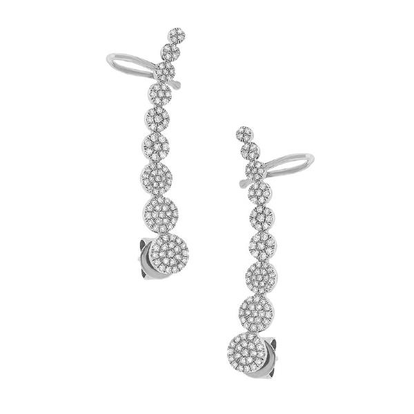0.41ct 14k White Gold Diamond Ear Crawler Earrings