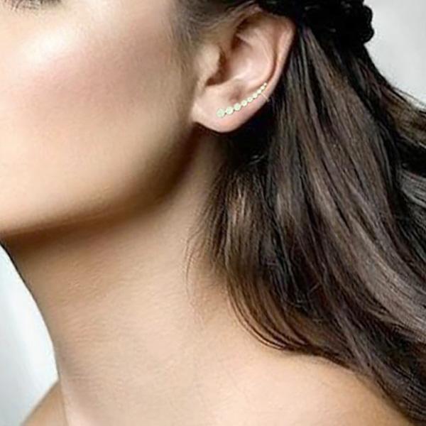 0.41ct 14k Yellow Gold Diamond Ear Crawler Earrings