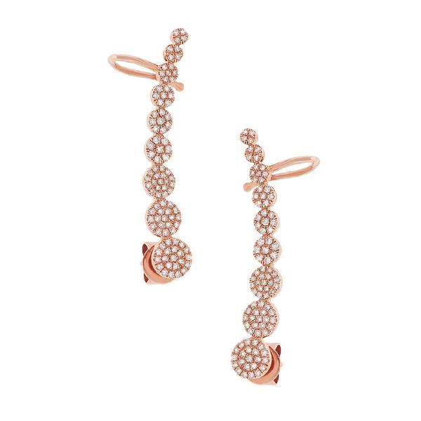 0.41ct 14k Rose Gold Diamond Ear Crawler Earrings