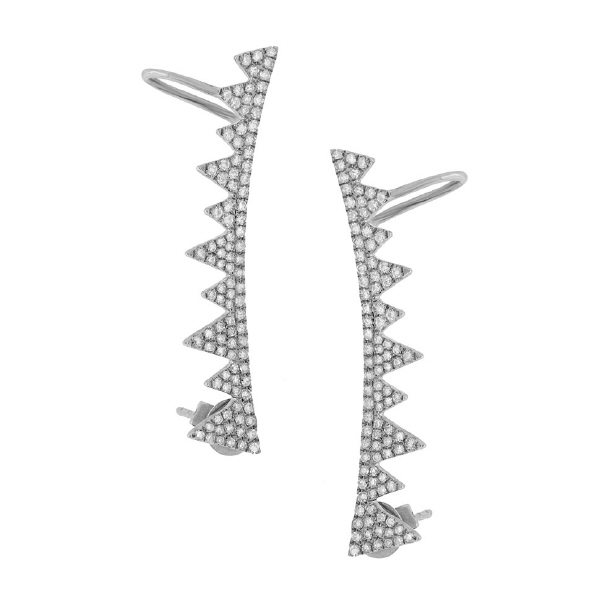 0.52ct 14k White Gold Diamond Ear Crawler Earrings