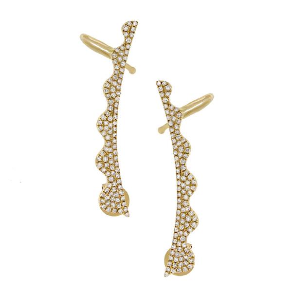 0.45ct 14k Yellow Gold Diamond Ear Crawler Earrings