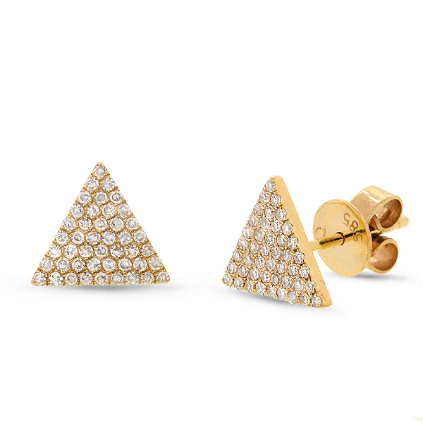 0.24ct 14k Yellow Gold Diamond Pave Triangle Earrings