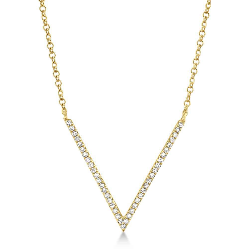 0.12ct 14k Yellow Gold Diamond Necklace