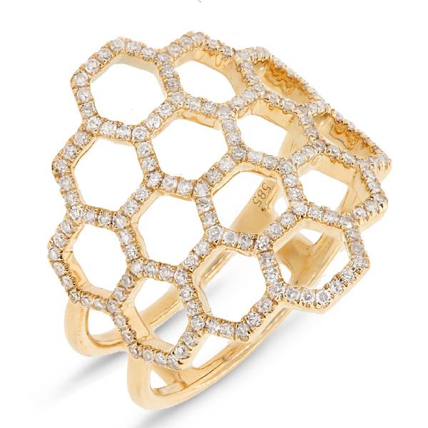 0.47ct 14k Yellow Gold Diamond Honeycomb Ring