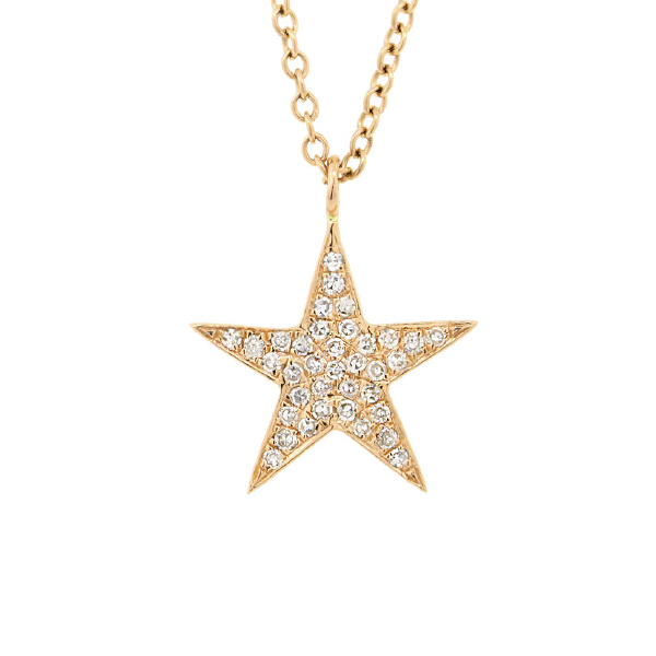 0.09ct 14k Yellow Gold Diamond Star Pendant Necklace