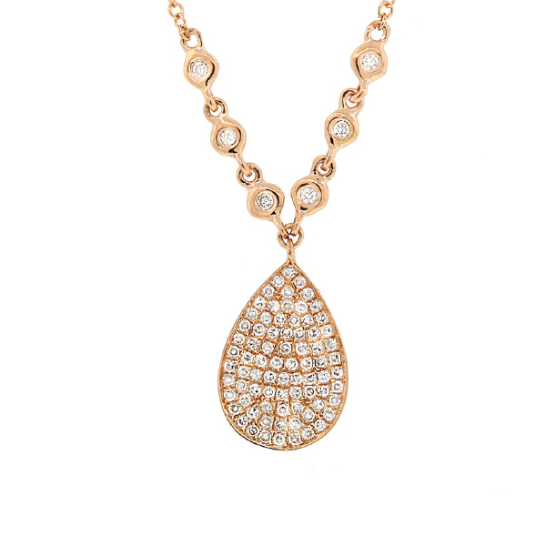 0.26ct 14k Yellow Gold Diamond Pave Necklace