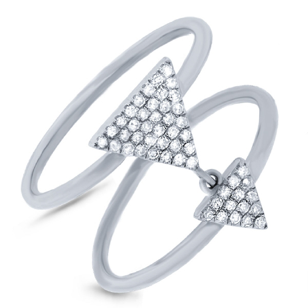 0.17ct 14k White Gold Diamond Pave Triangle Ring