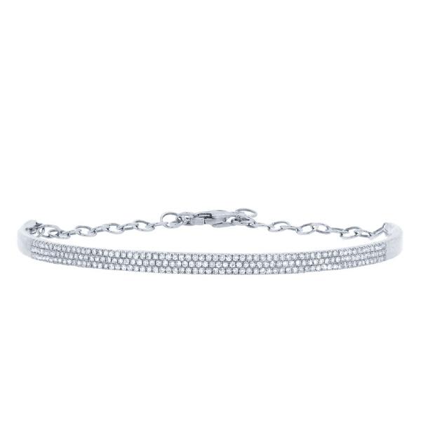 0.55ct 14k White Gold Diamond Pave Bangle Bracelet
