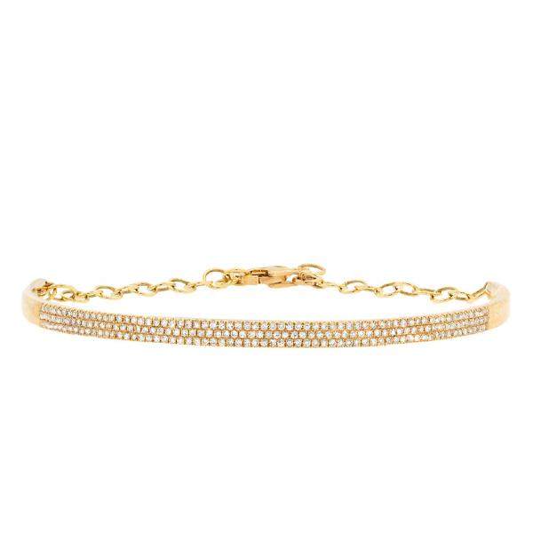 0.55ct 14k Yellow Gold Diamond Pave Bangle Bracelet