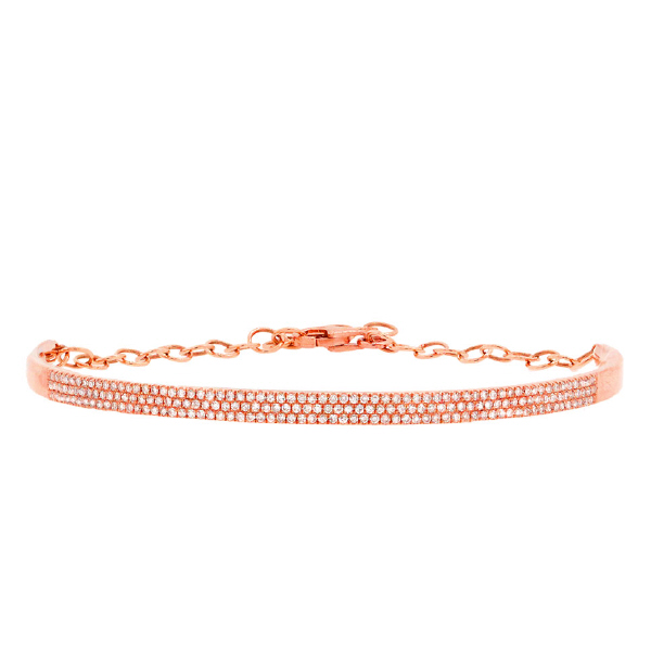 0.55ct 14k Rose Gold Diamond Pave Bangle Bracelet