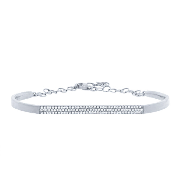 0.30ct 14k White Gold Diamond Pave Bangle Bracelet