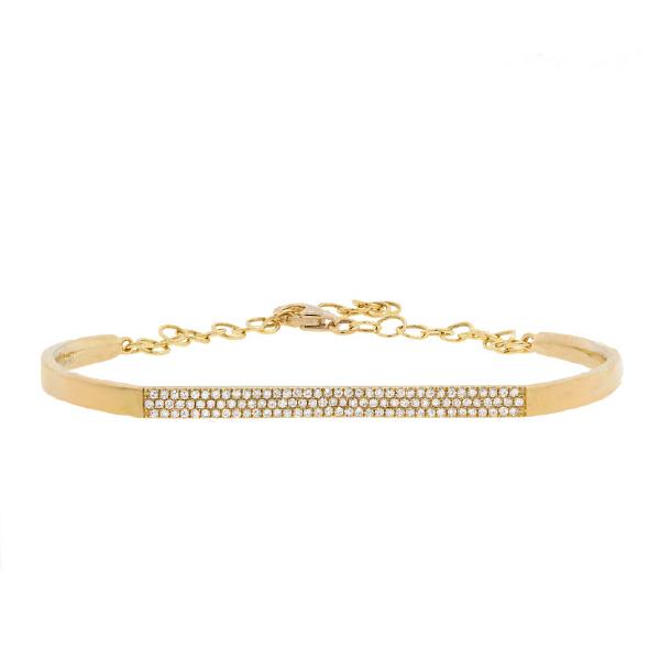 0.30ct 14k Yellow Gold Diamond Pave Bangle Bracelet