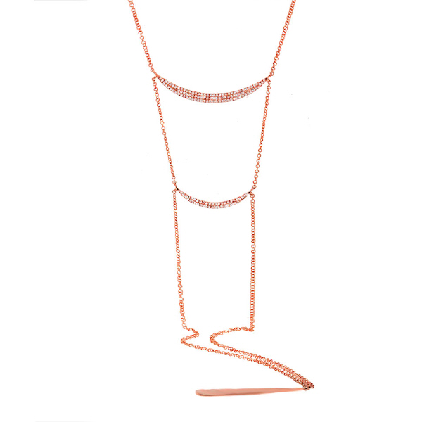 0.34ct 14k Rose Gold Diamond Pave Lariat Necklace